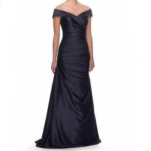 La Femme Off the Shoulder Navy Satin Gown